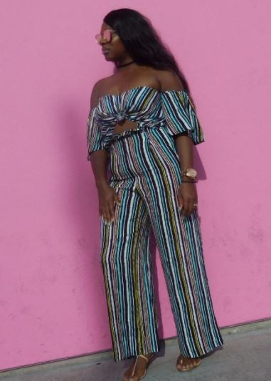 Cleopatra Stripe Backless Off Shoulder Jumpsuit