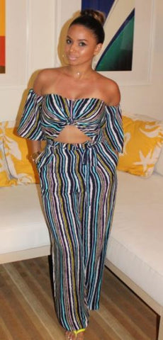 Cleopatra Striped Bell-Sleeve Two Piece Pant Set - DGCouture™