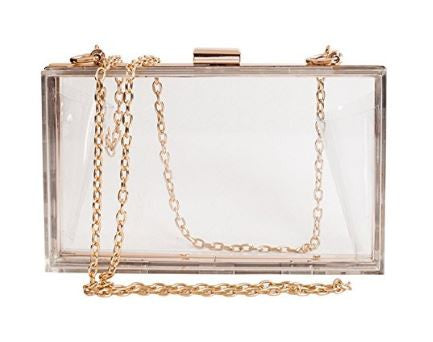 Clear Cleo Transparent Box Clutch Acrylic Cross Body Purse - DGCouture - 1