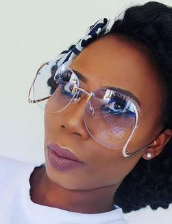 """Crystal Clear"" Large Classic Vintage Clear Rimless Glasses - DGCouture - 2"