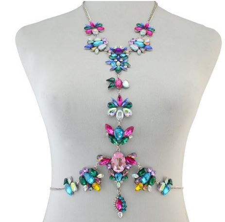 Chyra Colorful Crystal Unique Statement Body Jewelry Necklace