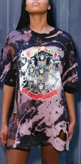 """Guns and Roses"" Distressed Bleached Oversized T Shirt - DGCouture - 2"