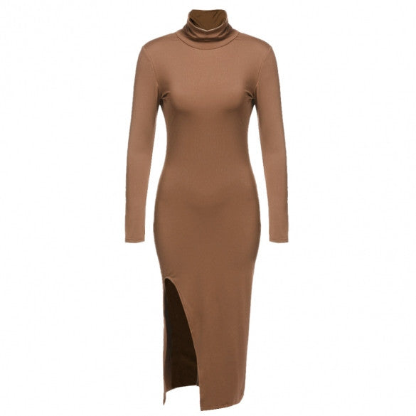 Aspen L/S Collared Side Slit Bodycon Contour Dress - DGCouture - 3