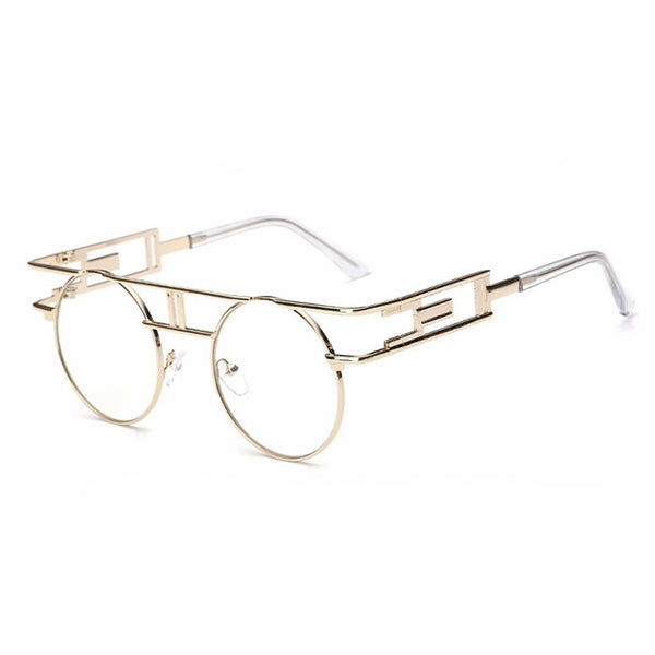 Clearly Clear Lens Vintage Rimless Gold Spectacles - DGCouture - 4