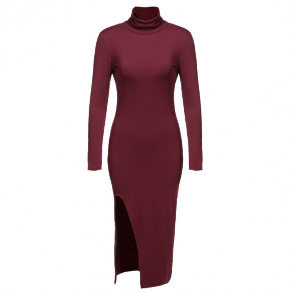 Aspen L/S Collared Side Slit Bodycon Contour Dress - DGCouture - 1