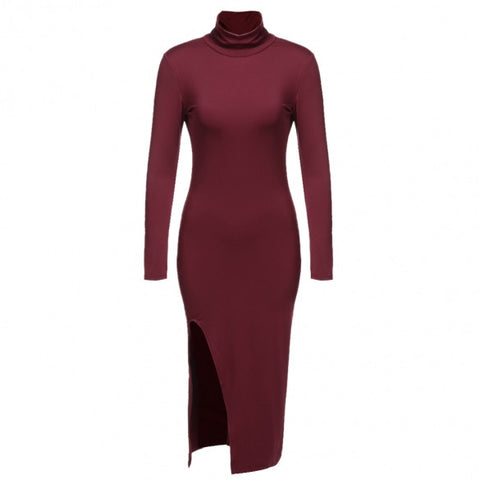 Aspen L/S Collared Side Slit Bodycon Contour Dress - DGCouture™