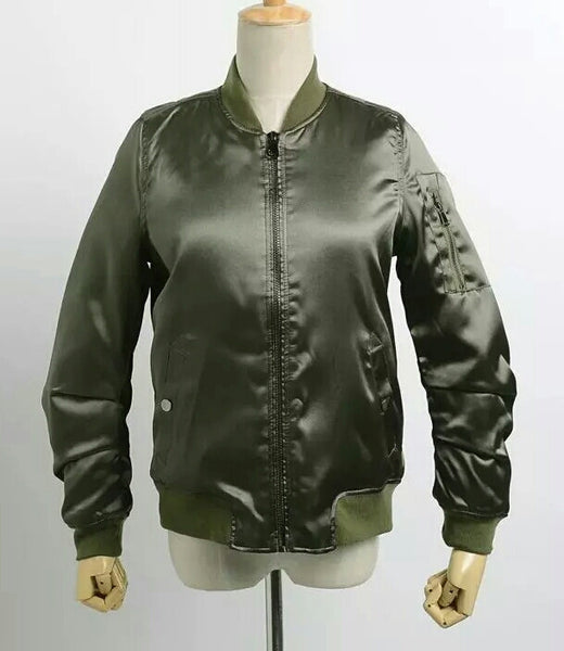 """Kylie Style"" Chic Satin Bomber Winter Jackets - DGCouture - 5"