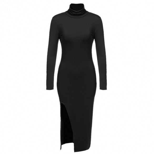 Aspen L/S Collared Side Slit Bodycon Contour Dress - DGCouture - 2