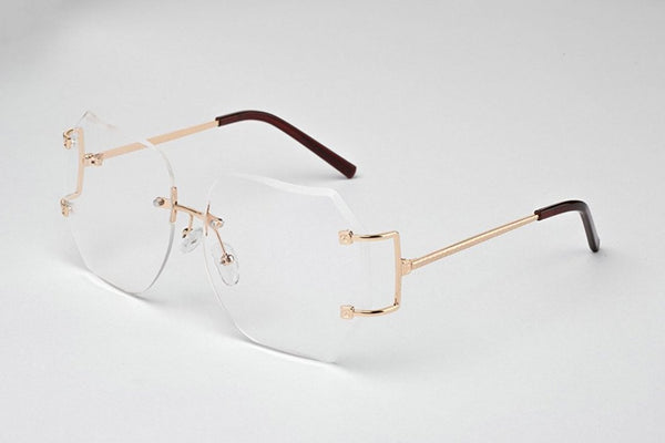 """Luxy"" Clear Ladies Rimless Oversized Hexagon Glasses - DGCouture - 3"
