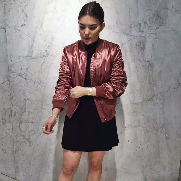 """Kylie Style"" Chic Satin Bomber Winter Jackets - DGCouture - 3"