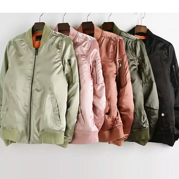 """Kylie Style"" Chic Satin Bomber Winter Jackets - DGCouture - 1"
