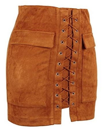 Women's Faux Suede Bohemian High Waist Skirt