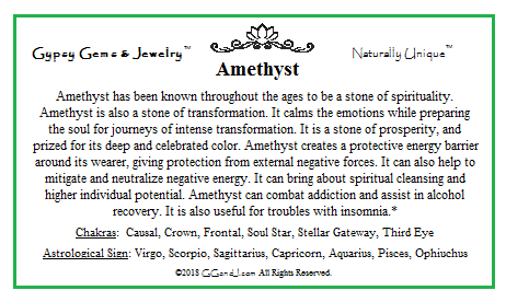 Gypsy Gems & Jewelry Amethyst Facts
