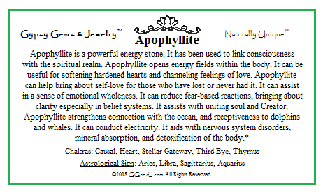 GG&J Apophyllite Facts