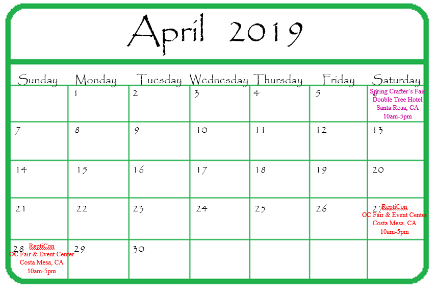 Gypsy Gems & Jewelry April 2019 Events Calendar