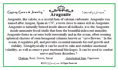 Gypsy Gems & Jewelry™ Aragonite Facts