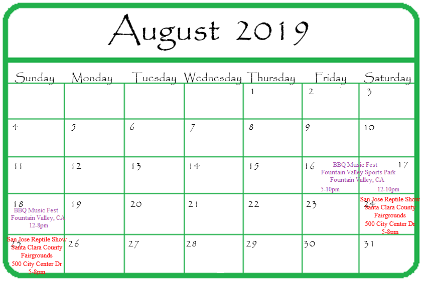 Gypsy Gems & Jewelry August 2019 Events Calendar
