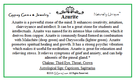 Azurite Info card on Gypsy Gems & Jewelry