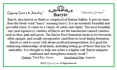 Gypsy Gems & Jewelry Baryte Facts