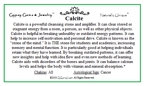 Calcite fun fact Card on GGandJ.com Gypsy Gems & Jewelry