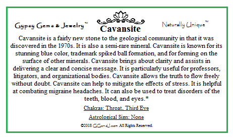 Gypsy Gems & Jewelry™ Cavansite Facts