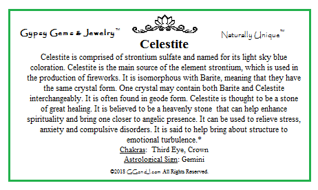GG&J Celestite Facts