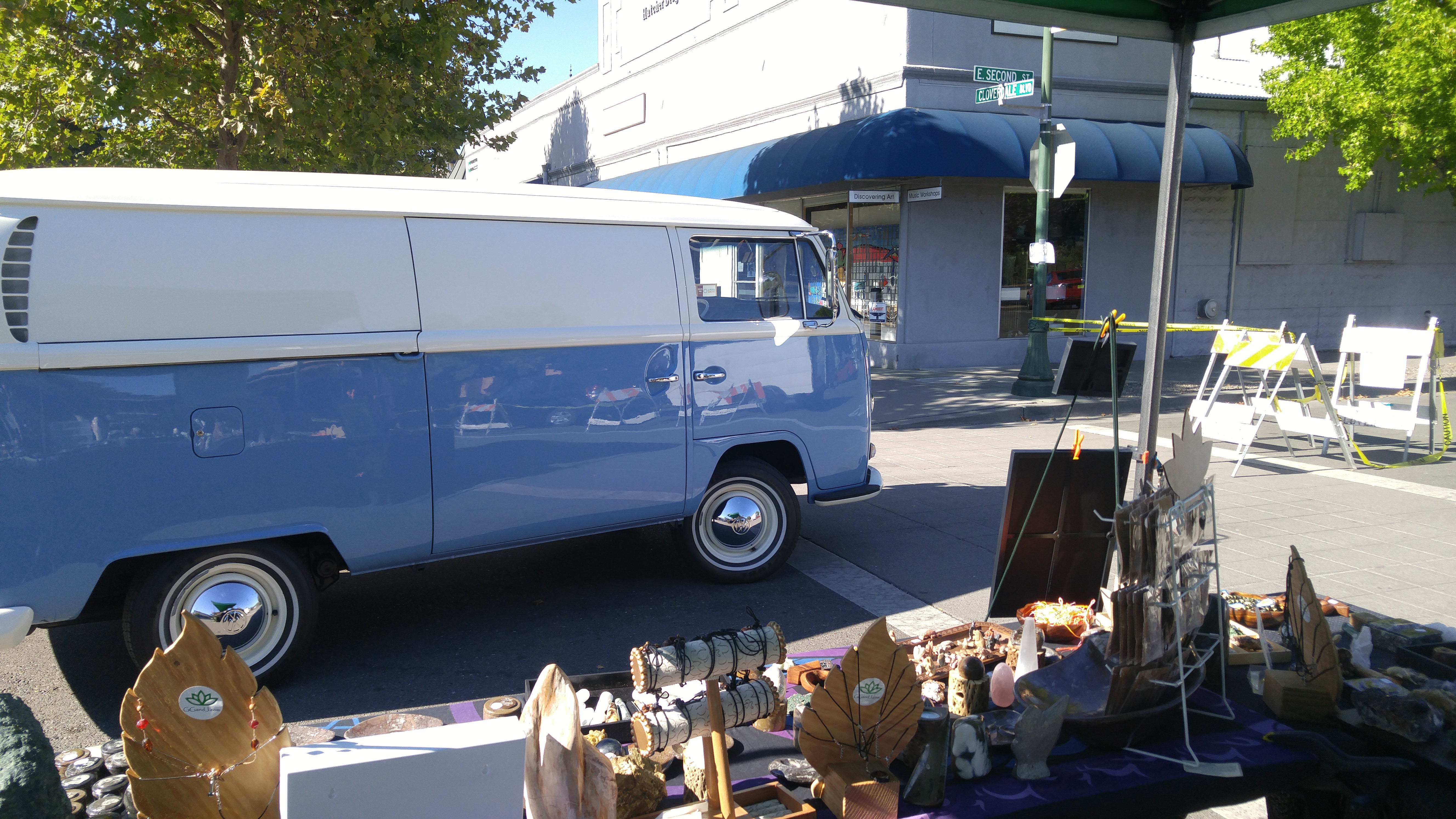 Cloverdale Car & Motorcyle Show VW Bus cruising by Gypsy Booth