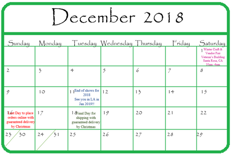 Gypsy Gems & Jewelry December 2018 Calendar of Events GGandJ.com