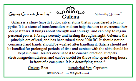 Galena info card on GGandJ.com Gypsy Gems & Jewelry Naturally Unique