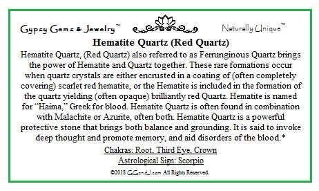 Gypsy Gems & Jewelry™ Hematite Quartz Facts