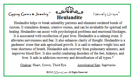 Heulandite info card on Gypsy Gems & Jewelry GGandJ.com