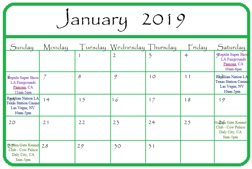 Gypsy Gems & Jewelry January 2019 Events Calendar