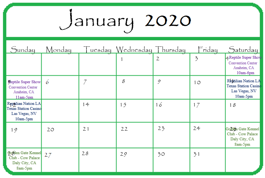 Gypsy Gems & Jewelry January 2020 Events Calendar