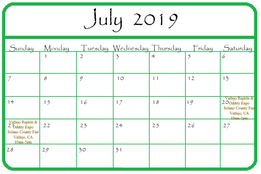 Gypsy Gems & Jewelry July 2019 Events Calendar