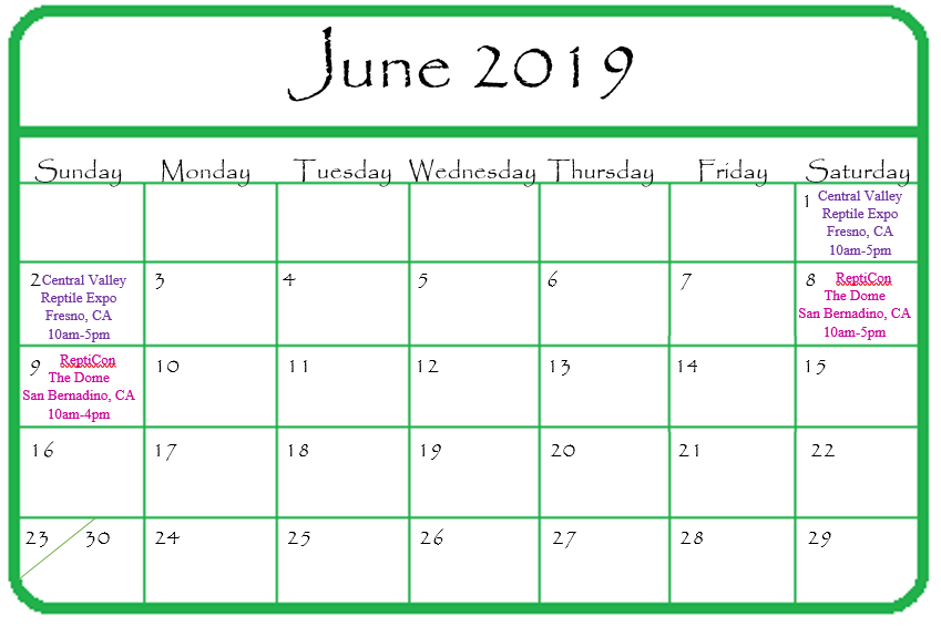 Gypsy Gems & Jewelry June 2019 Events Calendar