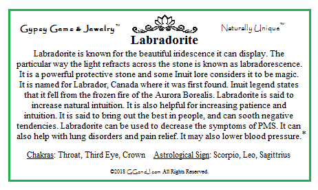 Labradorite info card on GGandJ.com Gypsy Gems & Jewelry