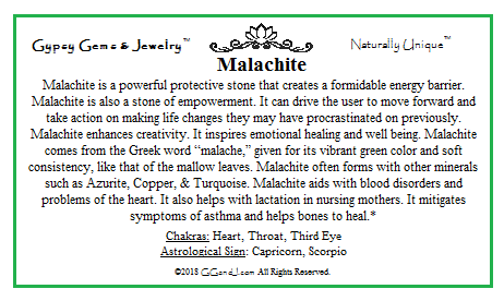 Gypsy Gems & Jewelry Malachite Facts