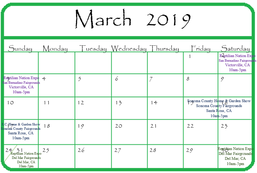 GGandJ.com 2019 March Calendar of Events