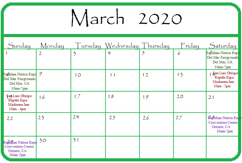 Gypsy Gems & Jewelry March 2020 Events Calendar