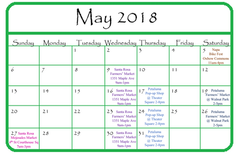 GGandJ May 2018 Events Calendar