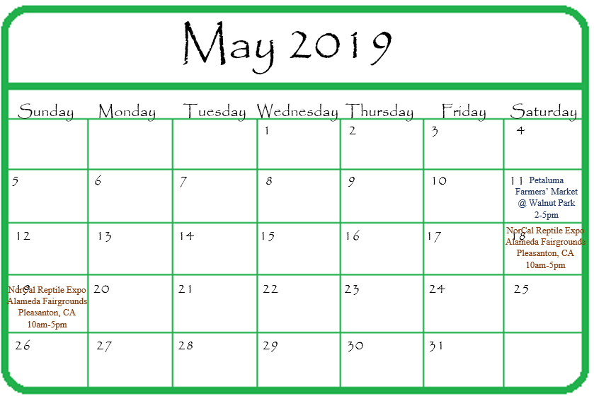 Gypsy Gems & Jewelry May 2019 Events Calendar