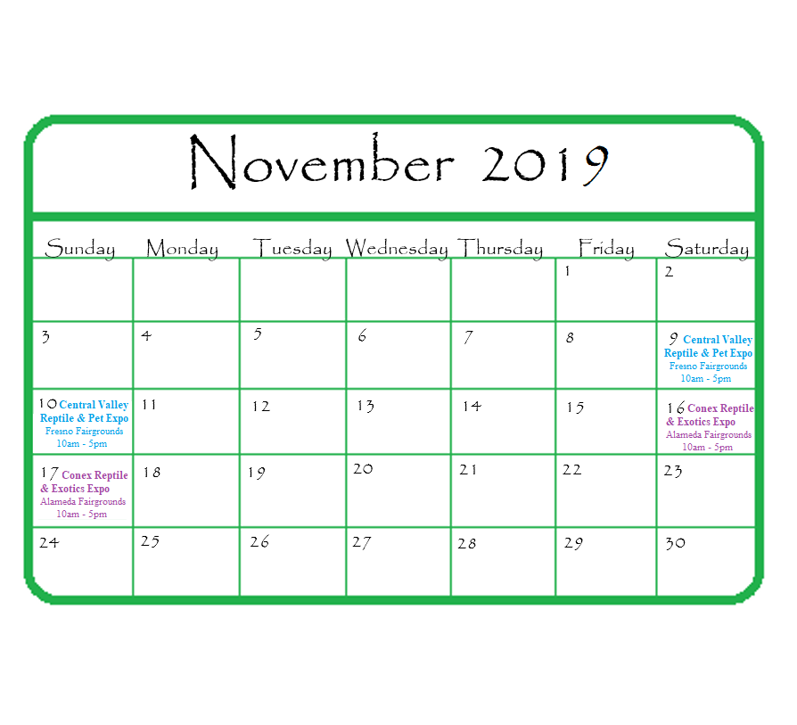 Gypsy Gems & Jewelry November 2019 Events Calendar