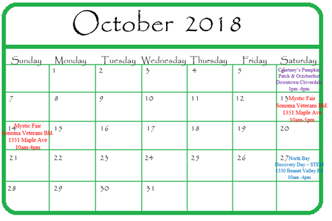 Gypsy Gems & Jewelry October 2018 Calendar of Events GGandJ.com