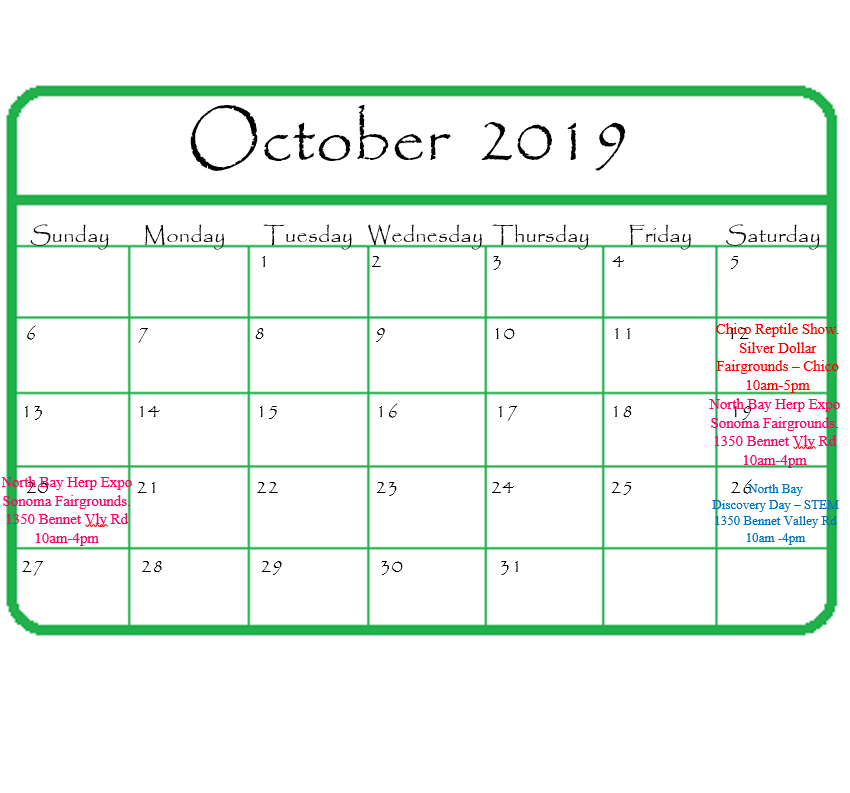 Gypsy Gems & Jewelry October 2019 Events Calendar
