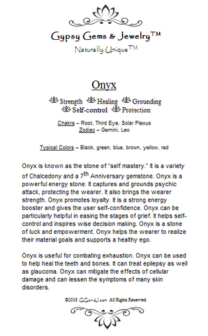 Gypsy Gems & Jewelry Onyx Facts