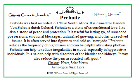 Gypsy Gems & Jewelry™ Prehnite Facts