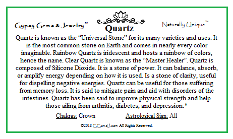 Quartz info card Gypsy Gems and Jewelry