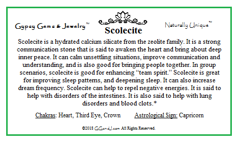 Scolecite info card on GGandJ.com
