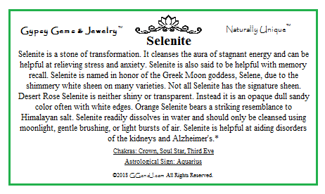 Gypsy Gems & Jewelry Selenite Facts