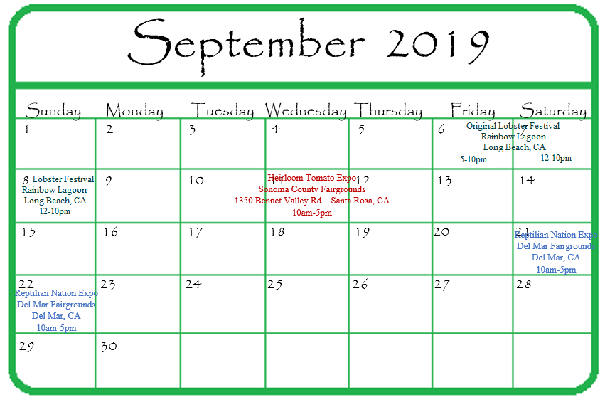 Gypsy Gems & Jewelry September 2019 Events Calendar